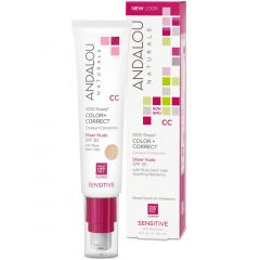 Andalou Naturals 1000 Roses Colour & Correct Mosturizing Cream with SPF 30, Sensitive, 58ml