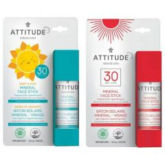 Attitude Skincare SPF 30 Mineral Sunscreen Face Stick, BABY, KIDS, and ADULTS, 18.4g