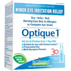 Boiron Optique 1 (For Minor Eye Irritations- Contact Lense Safe), 30 unit doses (NEW!)