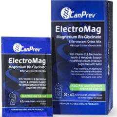 CanPrev ElectroMag Magnesium Bis-Glycinate Effervescent Drink Mix, 30 Packets