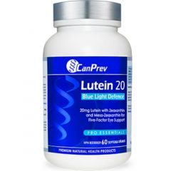 CanPrev Lutein 20mg Blue Light Defence (With Zeaxanthin & Meso-Zeaxanthin), 60 Softgels