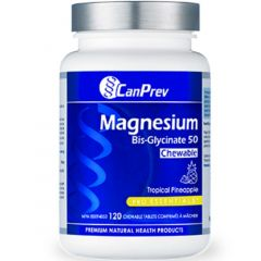 CanPrev Magnesium Bis-Glycinate (Delicious Chewable Form),50 Chewable Tablets (NEW!)