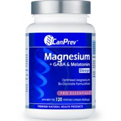 CanPrev Magnesium + GABA & Melatonin For Sleep (125mg + 100mg & 2.5mg), 120 Vegetable Capsules