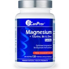 CanPrev Magnesium + Taurine, B6 & Zinc For Cardio, 120 Vegetable Capsules