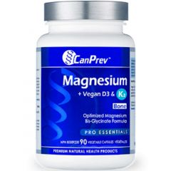 CanPrev Magnesium, Vegan D3 & K2 for Bones, 90 Vegetable Capsules