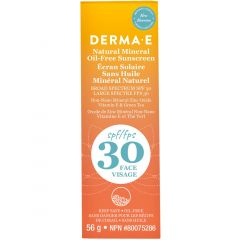 Derma E Natural Mineral Sunscreen SPF 30, Oil-Free Face Lotion, 56g