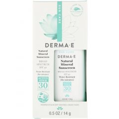 Derma E Natural Mineral Sunscreen SPF30, Water Resistant, 14g