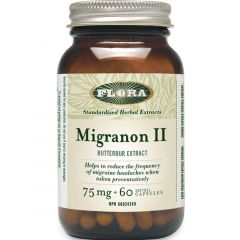 Flora Migranon II Butterbur Extract 75mg (Reduces Headache Frequency), 60 Softgels