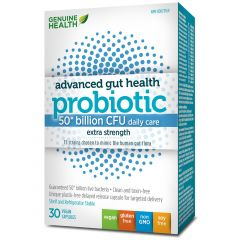 Genuine Health Advanced Gut Health Probiotic, Extra Strength - 50 Billion CFU, Vegetable Capsules
