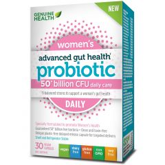 Genuine Health Advanced Gut Health Probiotic, Women's Daily, 30 Capsules refrigerated