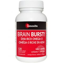 Innovite Health Brain Burst (DHA For Adults and Kids), 120 Chewable Softgels