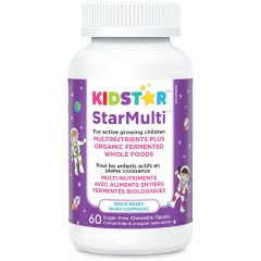 KidStar Nutrients StarMulti (Multinutrients Plus Organic Fermented Whole Foods), 60 Chewable Tablets