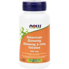 NOW American Ginseng 500mg, 100 Vegetable Capsules