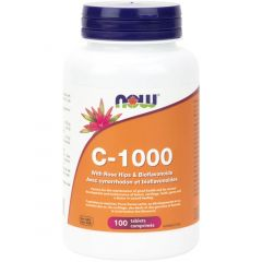 NOW C-1000 with Rosehips & Bioflavonoids, 100 Tablets