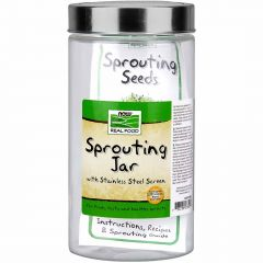 NOW Glass Sprouting Jar with Steel Mesh Lid, 1.89L