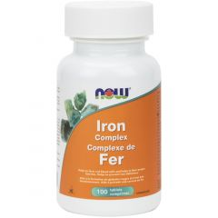 NOW Iron Complex (Ferrochel Chelated Iron Bisglycinate 27mg), 100 Tablets