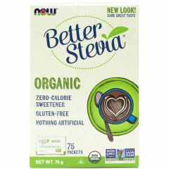 NOW Organic Stevia with Inulin, 1g x 75 Packets