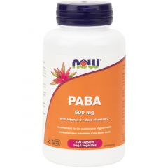 NOW PABA 500mg with Vitamin C, 100 Capsules
