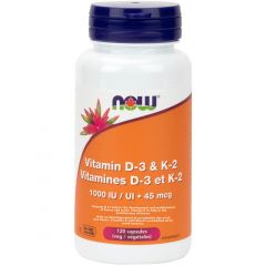 NOW Vitamin D3 (1000IU) & K2 (45mcg), 120 Vcaps
