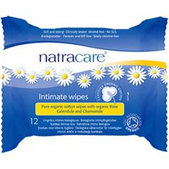 Natracare Organic Cotton Intimate Wipes, 12 Wipes