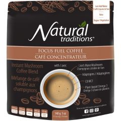 Natural Traditions Focus Fuel Coffee, Instant Blend (w/ Lion's Mane Mushroom, Adaptogens, C8 MCT & Plant-based Omegas)