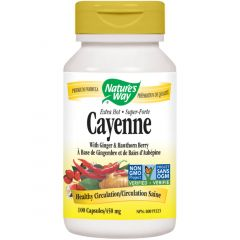 Nature's Way Cayenne Extra Hot 100,000HU 450mg with Ginger & Hawthorn Berry, 100 Vegetable Capsules