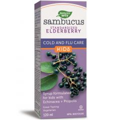 Nature's Way Kids Sambucus Elderberry Cold and Flu Care Syrup (with Echinacea & Propolis), 120 ml