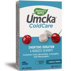 Nature's Way Umcka ColdCare (Shortens Duration & Severity of Common Cold & Bronchitis), 20 Chewable Tablets