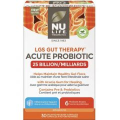 Nu-Life LGS Gut Therapy Acute Probiotic 25 Billion CFU (Shelf Stable), 30 Delayed Release Capsules