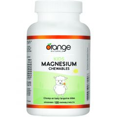 Orange Naturals Kids Chewable Magnesium 50mg (Highly Absorbable), 120 Chewable Tablets (NEW!)