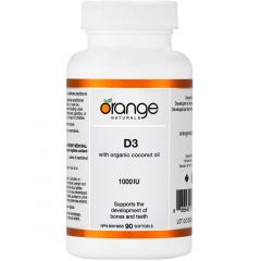 Orange Naturals Vitamin D3 with Organic Coconut Oil 1000IU, 90 Softgels