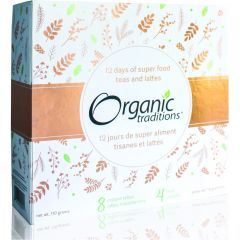 Organic Traditions 12 Days of Super food Teas and Lattes (8 Lattes and 4 Teas) Limited Edition