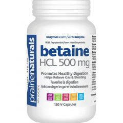 Prairie Naturals Betaine HCL 500mg Plus Peppermint 60mg
