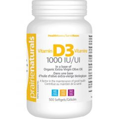 Prairie Naturals Vitamin D 1000IU Softgels in a Base of Organic Olive Oil