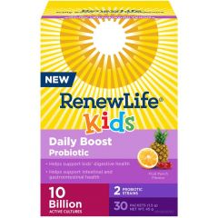 Renew Life Kids Daily Boost Probiotic + Prebiotic Powder 10 Billion (Fruit Punch), 30 Single Serve Packets (Shelf Stable)