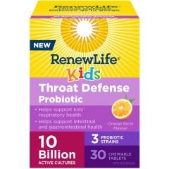 Renew Life Kids Throat Defense Probiotic, 30 Chewable Tablets (Shelf Stable)