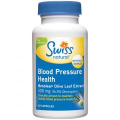Swiss Natural Blood Pressure Health with Benolea Olive Leaf Extract, 60 Capsules