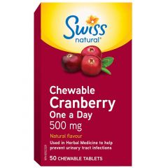 Swiss Natural Chewable Cranberry One a Day 500mg, 50 Chewable Tablets