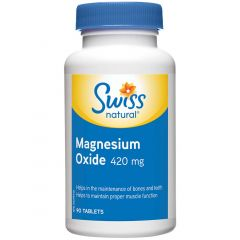 Swiss Natural Magnesium Oxide 420mg, 90 Tablets