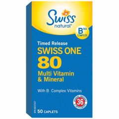 Swiss Natural Sources Swiss One 80 Multi Vitamin & Mineral Timed Release, 50 Caplets