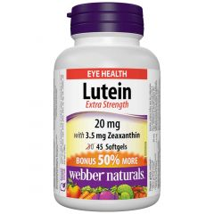 Webber Naturals Lutein with Zeaxanthin, Extra Strength, 20mg, BONUS! 50% MORE, 30+15 Softgels