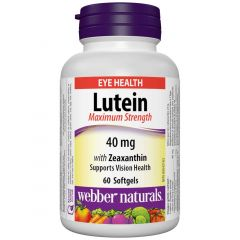 Webber Naturals Lutein with Zeaxanthin, Maximum Strength, 40mg, 60 Softgels