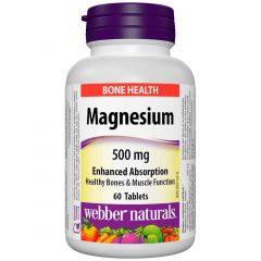 Webber Naturals Magnesium 500mg Enhanced Absorption (Chelated), 60 Tablets