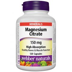 Webber Naturals Magnesium Citrate, HighAbsorption, 150mg, 120 Capsules