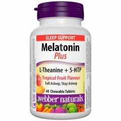 Webber Naturals Melatonin Plus, with L-Theanine and 5-HTP, 1.5mg/100mg/15mg, 40 Chewable Tablets