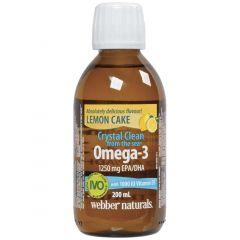 Webber Naturals Omega-3 with Vitamin D3 Fish Oil, Crystal Clean from the Sea, Lemon Cake, 200ml Liquid