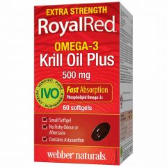 Webber Naturals Royal Red Omega-3 Krill Oil Plus, Extra Strength, 500mg, 60 Softgels