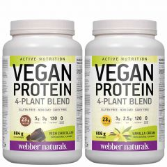Webber Naturals Vegan Protein 4-Plant Blend (Gluten-Free and Non-GMO), 26 Servings