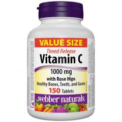 Webber Naturals Vitamin C with Rose Hips, Time Release, 1000mg, 150 Tablets