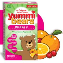 Hero Nutritionals Yummi Bears Omega 3 (Vegetarian Approved), 90 Gummies (Estimated Arrival Oct/2020 ~ Enter your email to be notified)